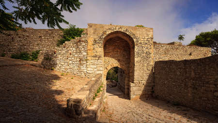 erice: View of the entrance of punic fortification called Porta Spada in Erice, Trapani. Sicily Stock Photo