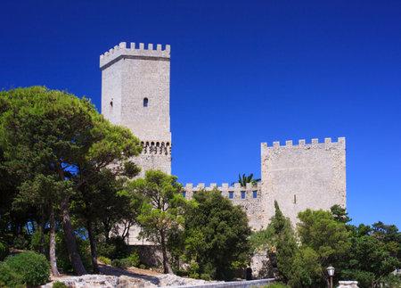 torri: View of the Norman castle called Torri del Balio, Erice
