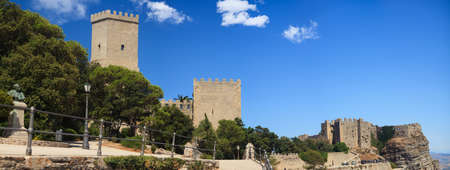 torri: View of the Norman castle called Torri del Balio and Venere castle in Erice
