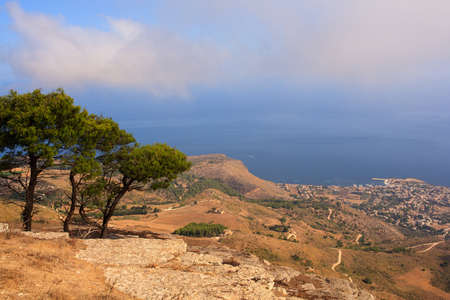 erice: Seaview from Erice, amazing town near Trapani, Sicily