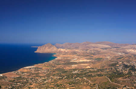 erice: View of the Cofano Mountain in Erice, Trapani. Sicily Stock Photo