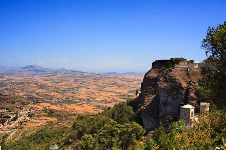 erice: View Torretta Pepoli in Erice, Sicily