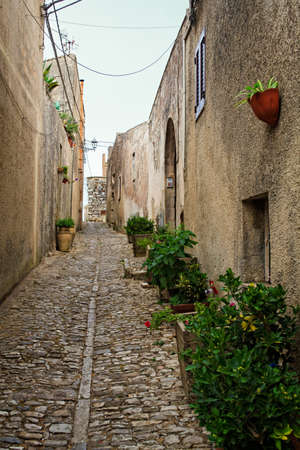 elymian: View of Erice alleyway. Erice the city of 100 churches, Trapani