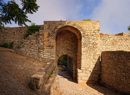 elymian: View of the entrance of punic fortification called Porta Spada in Erice, Trapani. Sicily Stock Photo