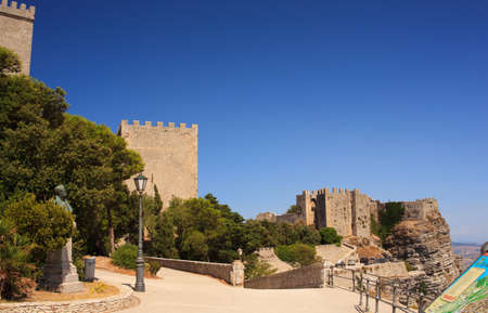 erice: View of the Norman castle called Torri del Balio and Venere castle in Erice