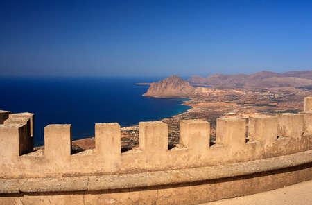 erice: View off the Cofano Mountain in Erice, Trapani. Sicily Stock Photo