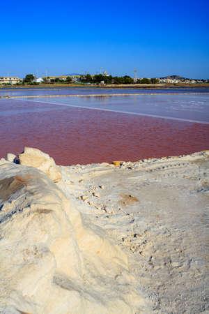trapani: View of salt pans, Trapani. Sicily