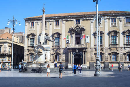 catania: CATANIA, ITALY - AUGUST, 26: Liotro, the obelisk monument symbol of Catania on August 26, 2015