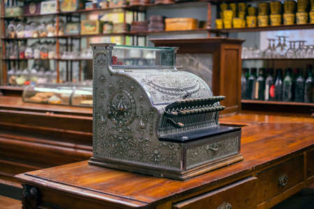 expose: MILAN, ITALY - SEPTEMBER, 13: Bar counter, Steno Tonelli collection, exposed in the Triennale pavilion of Expo during the Arts & Foods exibition curated by Germano Celant on September 13, 2015