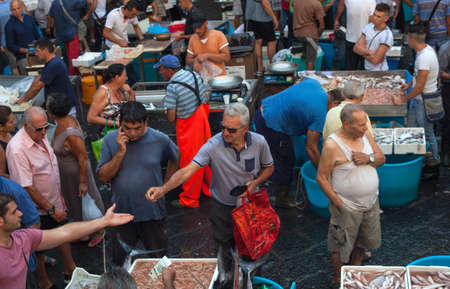catania: CATANIA, ITALY - AUGUST, 26: View of open fish market on August 26, 2015 Editorial