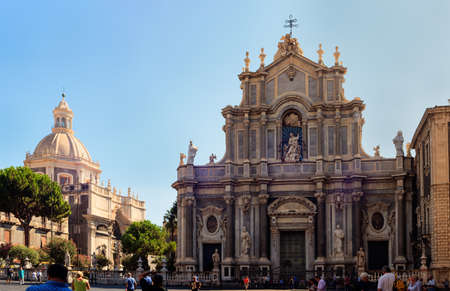 catania: CATANIA, ITALY - AUGUST, 26: View of Catania cathedral in Sicily on August 26, 2015