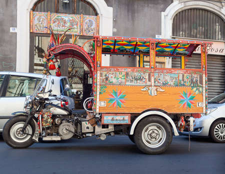 folkloristic: CATANIA, ITALY - AUGUST, 26: View of the modern version of the characteristic Sicilian Oxcart on August 26, 2015 Editorial
