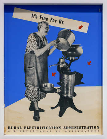 exposed: MILAN, ITALY - SEPTEMBER 13: Its fine for use by Lester Beall, Ancient posters made for theRural Electrification Administration, exposed in the Triennale pavilion of Expo During the Arts Foods exibition curated by Germano Celant on September 13, 2015