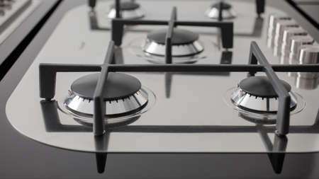 stovetop: Close up of kitchen range of a new kitchen Stock Photo