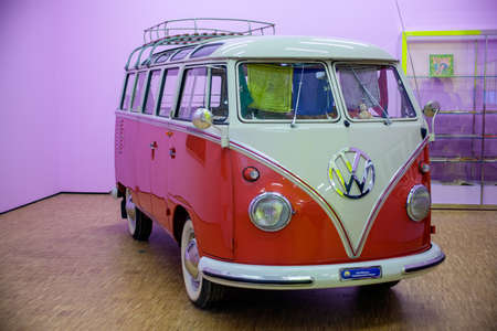 minibus: MILAN, ITALY - SEPTEMBER, 13: Ancient minibus Volkswagen, exposed in the Triennale pavilion of Expo during the Arts & Foods exibition curated by Germano Celant on September 13, 2015 Editorial