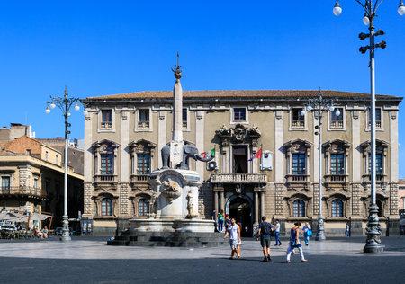 catania: CATANIA, ITALY - AUGUST, 26: Liotro, the obelisk monument symbol of Catania on August 26, 2015