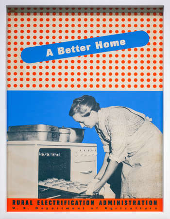exposed: MILAN, ITALY - SEPTEMBER 13: A better home by Lester Beall, Ancient posters made for theRural Electrification Administration, exposed in the Triennale pavilion of Expo During the Arts Foods exibition curated by Germano Celant on September 13, 2015