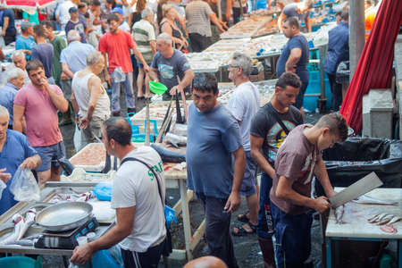 fish market: CATANIA, ITALY - AUGUST, 26: View of open fish market on August 26, 2015 Editorial