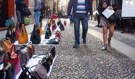counterfeit: Counterfeit italian bags for sales in the street