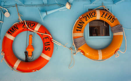 fisher: View of two lifebuoy on fisher boat Stock Photo