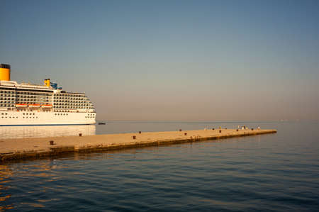 docked: View of cruise ship docked in the molo Audace, Trieste Stock Photo
