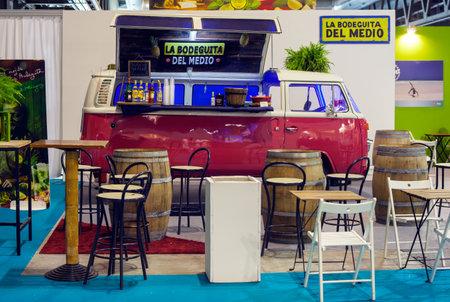 minibus: MILAN, ITALY - OCTOBER, 17: View of ancient minibus Volkswagen converted how drink bar called La bodeguita del medio on October 17, 2015 Editorial