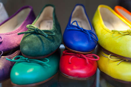 Close up of colorful female shoes