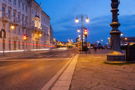 trieste: The street of trieste at sunset, Italy