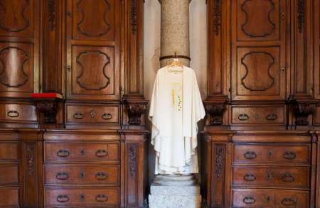 sotana: View of cassock, Christian clerical clothing in the church