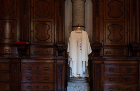 clerical: View of cassock, Christian clerical clothing in the church
