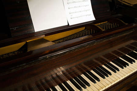 musical score: Close up of score on the piano Stock Photo