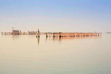 stilt house: View of Chioggia in the Venice lagoon Stock Photo