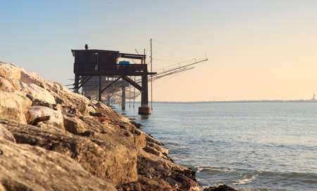 pile dwelling: View of the Casoni, ancient stilt house of fisher man in Sottomarina, Chioggia Stock Photo