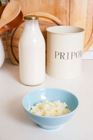 probiotic: Organic probiotic milk kefir grains inside the bowl