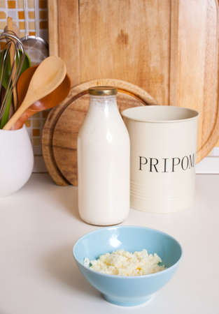 kefir: Organic probiotic milk kefir grains inside the bowl