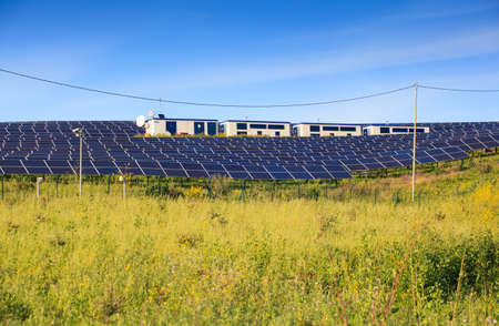 modules: View of solar panels of photovoltaic modules for renewable energy in the Sicily countryside