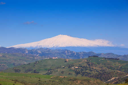 etna: View of Etna volcano and Sicily field