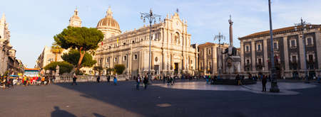 catania: CATANIA, ITALY - MARCH, 20: View of Catania cathedral in Sicily on March 20, 2016