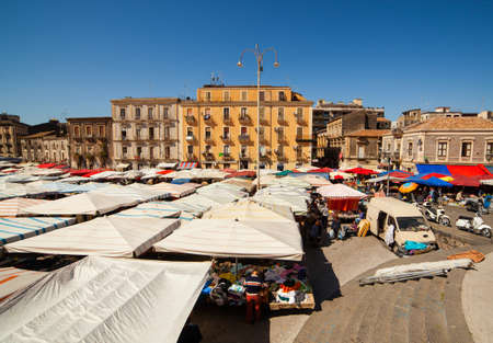 tent city: CATANIA, ITALY - MARCH, 31: View of open market called fera ò Luni on March 31, 2016 Editorial