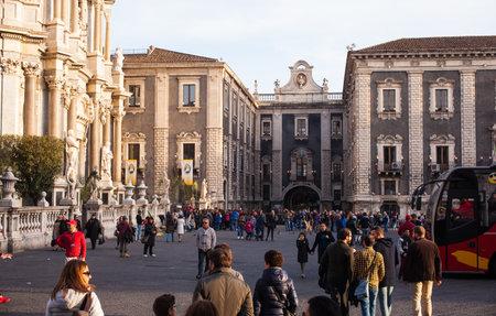 catania: CATANIA, ITALY - MARCH, 20: View of Porta Uzeda Catania on March 20, 2016