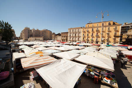 encampment: CATANIA, ITALY - MARCH 31: View of open market called fera   Luni on March 31, 2016