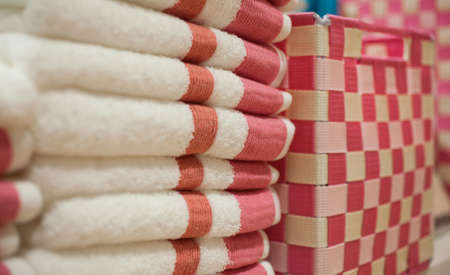 softness: Close up of stack of towels softness Stock Photo