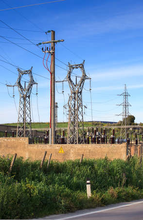 megawatt: View of the electrical substation in the territory of Enna Stock Photo