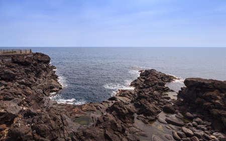 catania: The coast of lava stone in Catania Stock Photo