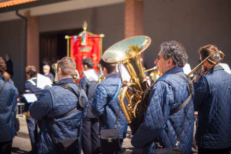 marching: FOSSALON, ITALY - APRIL, 25: The marching band of Fossalon during the Asparagus festival on April 25, 2016