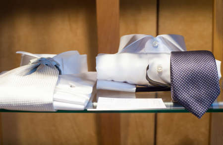 cufflink: Close uo of white male shirts and necktie Stock Photo