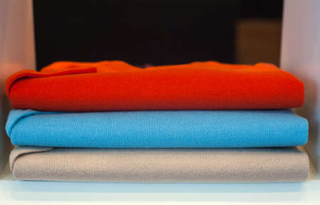pullover: View of colorfull sweaterin the clothes shop