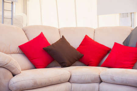 red pillows: Brown and red pillows on sofa