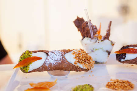 cannoli pastry: View of Cannoli, famous sicilian pastry