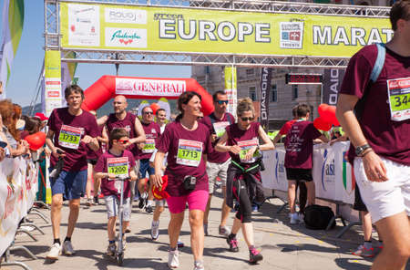 finishing line: TRIESTE, ITALY - MAY, 08: Finishing line of Bavisela the half marathon in Trieste on May 08, 2016 Editorial